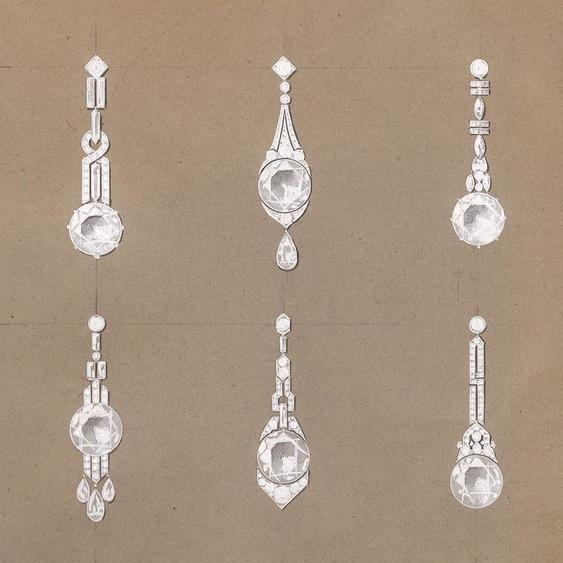 Chaumet dessin pendants diamants