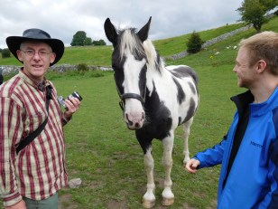 My dad and Angus (and unknown but friendly horse)