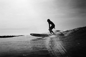 Black and white surf photo shot on Ilford HP5 film