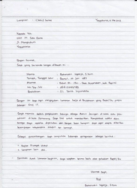 Contoh Surat Lamaran Kerja Dan Daftar Riwayat Hidup Tulisan Tangan