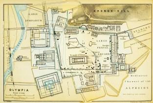 Τοπογραφικό σχεδιάγραμμα του αρχαιολογικού χώρου της Ολυμπίας Έτος 1894.