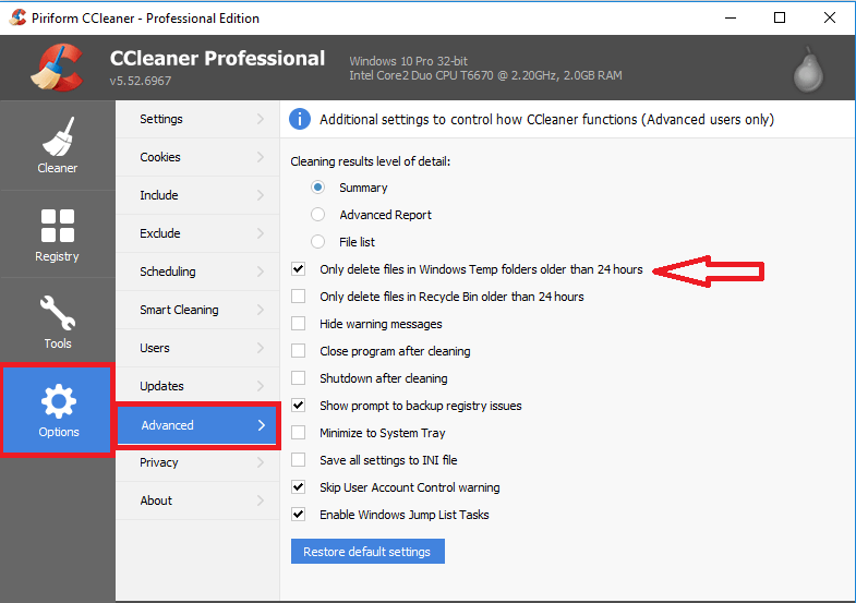 ccleaner to remove temporary files