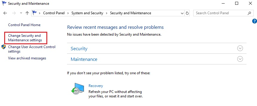 change security and maintenance settings,windows 10 disable firewall notifications