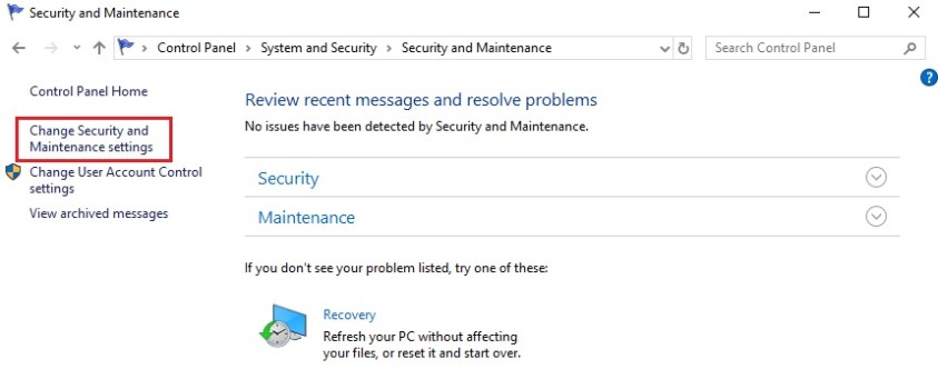 change security and maintenance settings