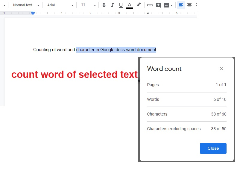 google doc character count, how to check word count on google docs