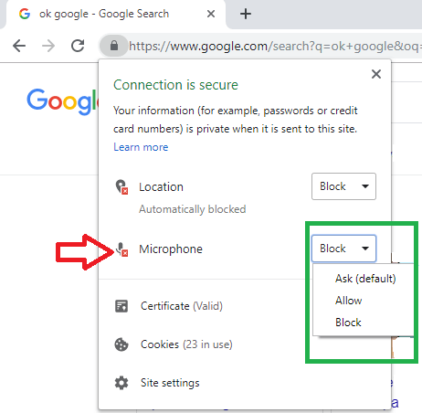 google voice search chrome not working