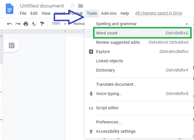 google docs word count,Google docs Word Count Shortcut,count words in google docs
