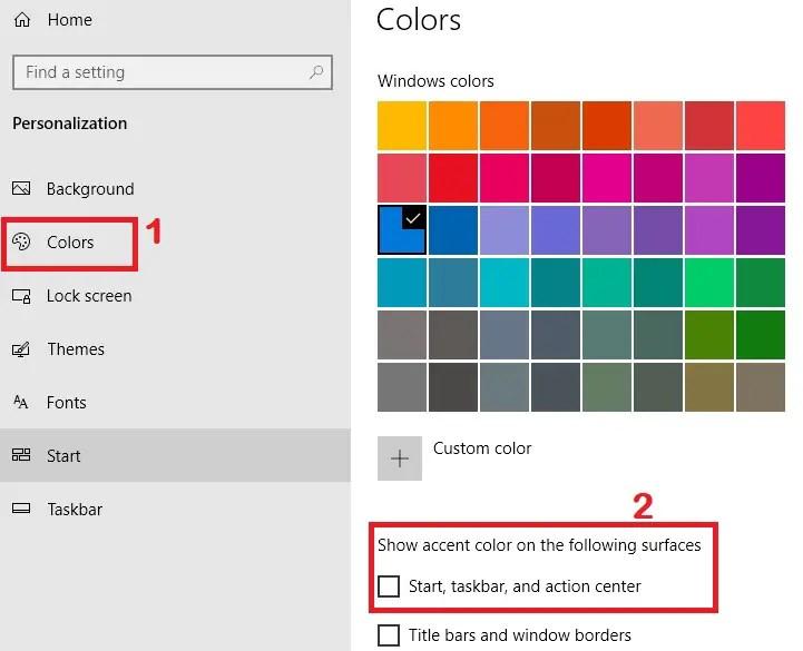 Change color of taskbar,change taskbar color windows 10