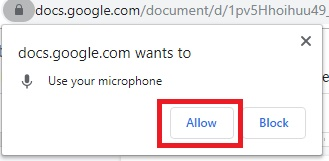 Use Google Docs for Voice Typing in PC, allow permission to microphone