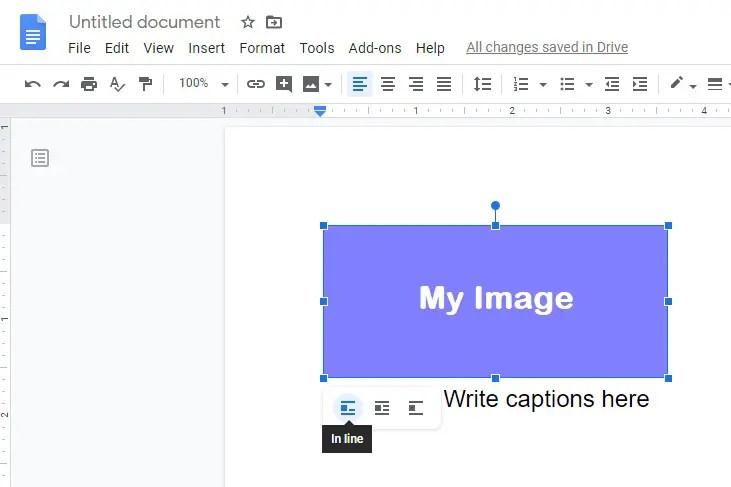 Google docs image caption, add image caption in google docs