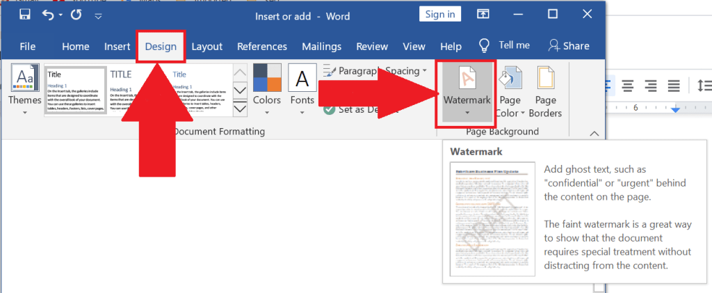 add watermark in Microsoft Word document ,how to watermark in google docs