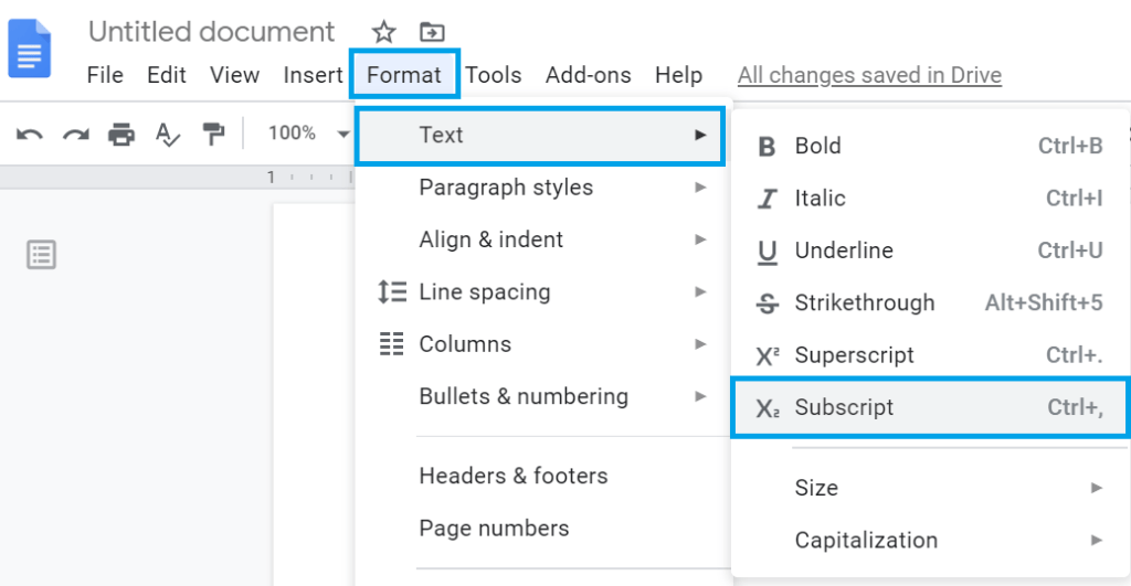 subscript in google docs, how to do subscript in google docs