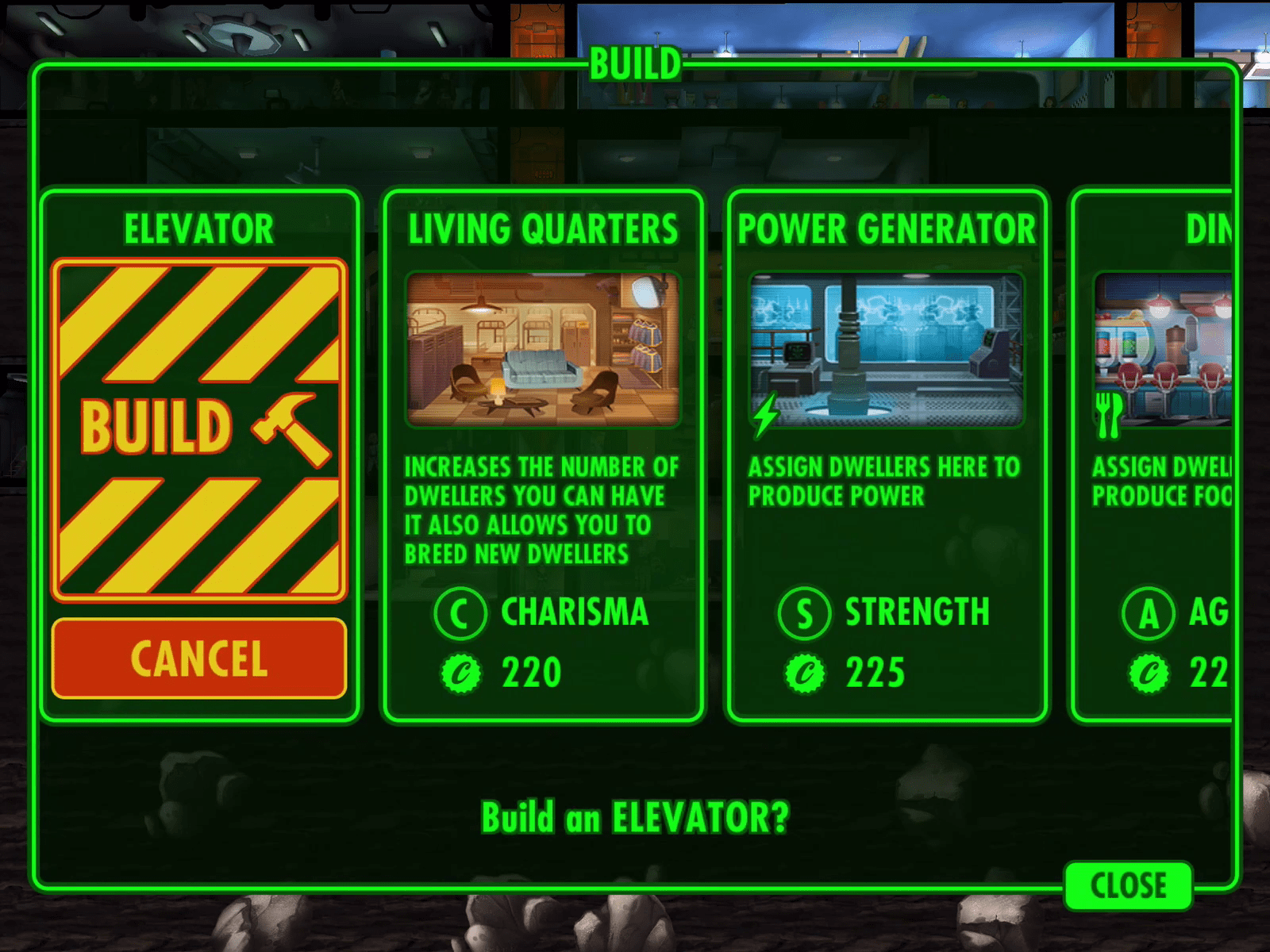 Construction UI - Fallout Shelter