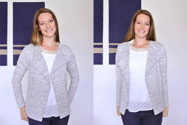 Jessie Draped Front Terry Knit Cardigan