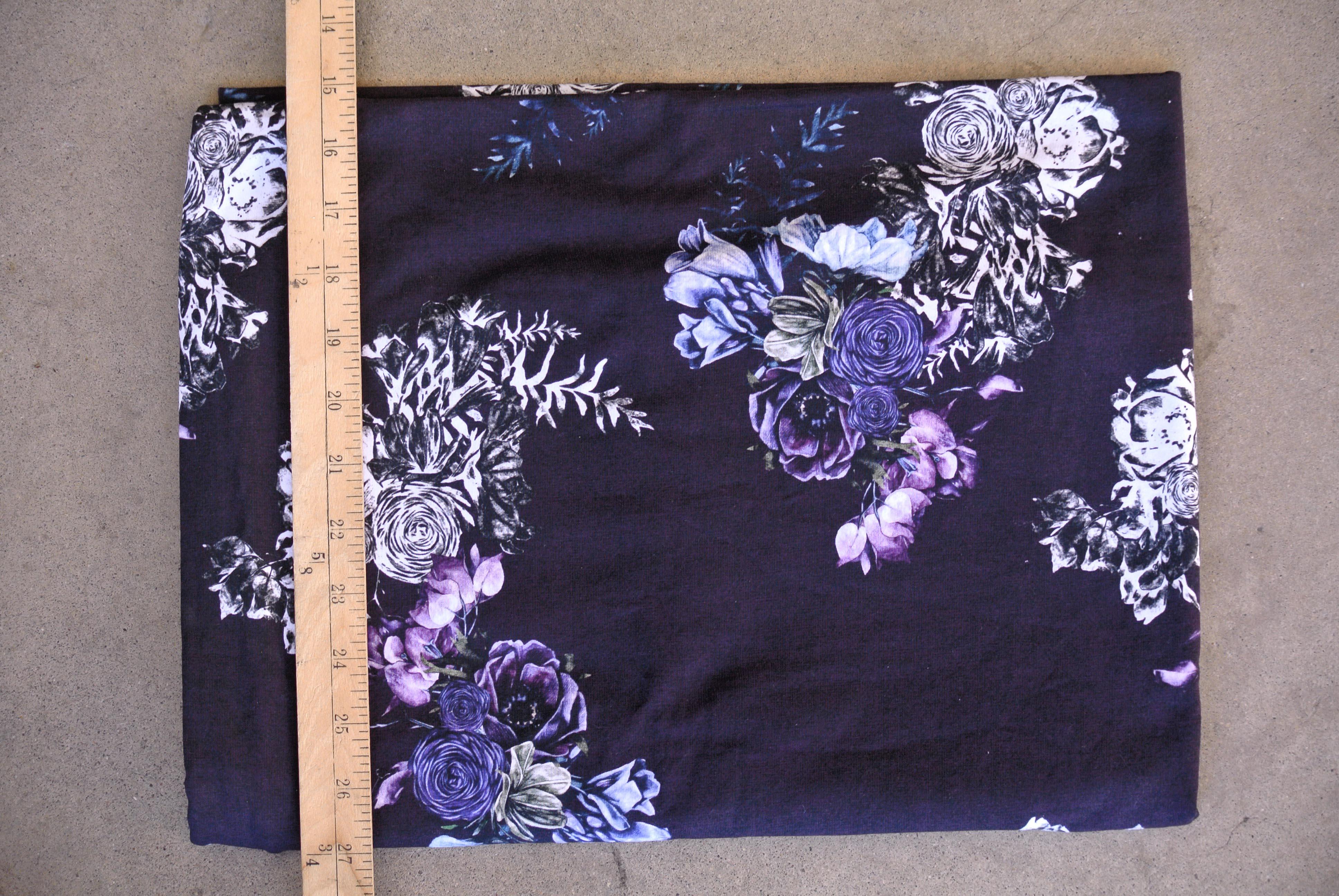 plum floral knit fabric