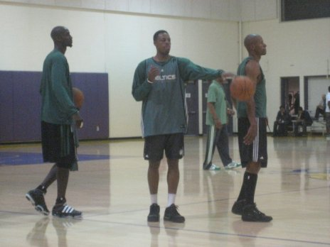 (L-R) Kevin Garnett, Paul Pierce and Ray Allen