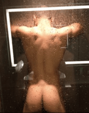 Isaac powers in the shower