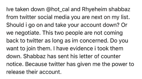 Blackmailing in twitter
