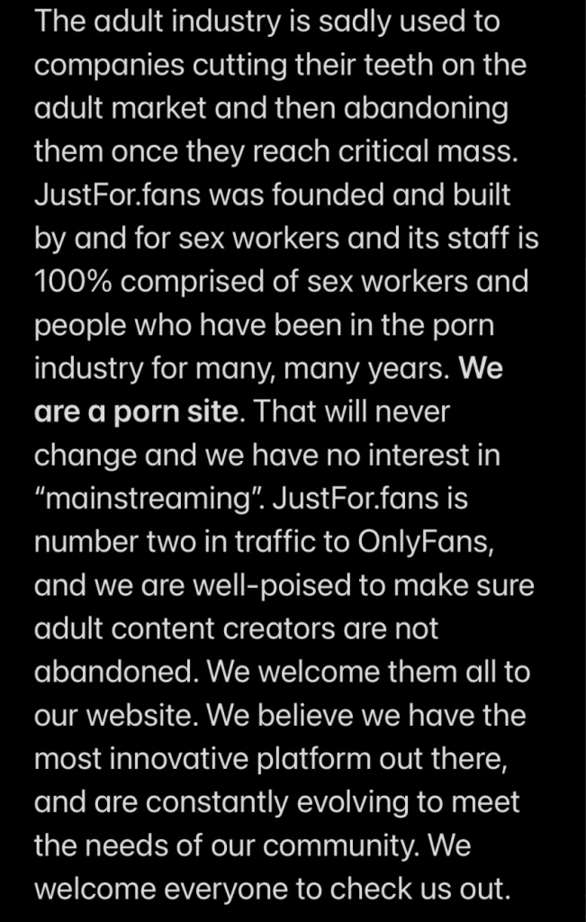 JFF communicate on Onlyfans Ban