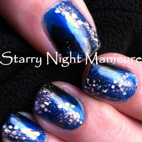 starry night manicure, blue black manicure