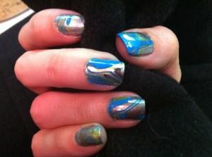 water marbeling, nail art, swirl nail art, water marbleing