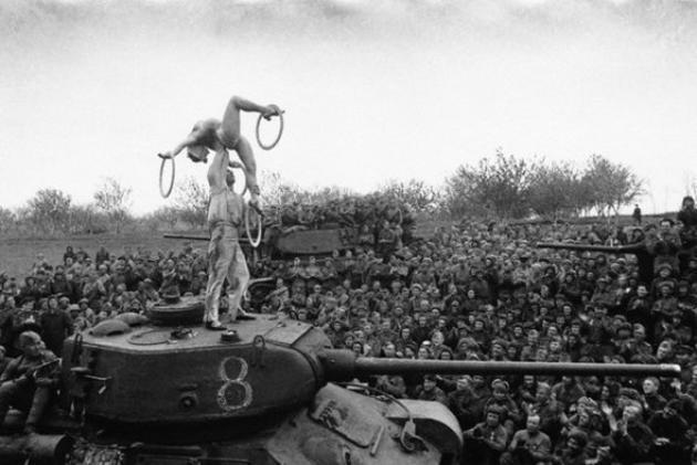 Soviet Soldiers take a break near Berlin