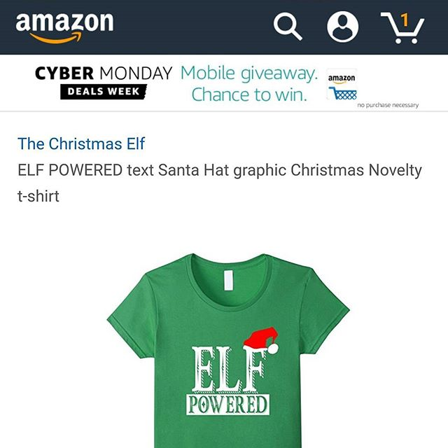 FREE 2 DAY SHIPPING ELF POWERED by The Christmas Elf brand on amazon.com #Christmas #elf #powered #caffeine #coffee #funny #buddy #fashion #holiday #cheer #women #youth #men #children #santa #family #parents #present #gift #snow #winter #tshirt #girls #cute #swag #cranberry #navy #royal #blue #green