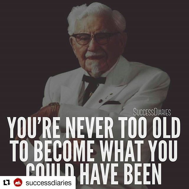 #Repost @successdiaries#success #motivation #business #inspire #kfc #nevergiveup・・・If you feel like you're too old to achieve your dreams or feel like your time has past, this post is for you. The other night I was reading the incredible life story of Colonel Sanders. If you're struggling to accomplish your dreams, you need to read this below...-At age 5 his father died.-His step-father and him had a bad relationship.-In seventh grade he dropped out of school.-At age 13 he left home.-By the age of 17 he had already lost 4 jobs.-He got married when he was 18 and had a son who died from infected tonsils.-Later his wife left him since he couldn't keep a job.-He joined the army, but was discharged 4 months later.-He was a railroad conductor, but got fired.-He applied for law school and got rejected.-He became a fireman and later got fired.-He became a lawyer, but lost his license after a courtroom brawl.-He became an insurance agent and again got fired.-At the age of 65 he retired his life up until this point was nothing but failure.-He decided to commit suicide, but he again failed.-One day he decided to write out a will, but instead of writing what he would pass on when he died he wrote down what he would accomplish with his life.-During the Great Depression he began serving chicken dishes out of his living quarters it became such a big hit that he opened a restaurant.-With his recipe he went door to door selling his chicken. He gained so much popularity that he was commissioned as Kentucky Colonel.-Later, he acquired a motel that he attached a restaurant to. That was burnt down by a fire shortly after.-He went back to work on his chicken recipe and got a job cooking-He later started the franchise Kentucky Fried Chicken and built his empire.-The story of Colonel Sanders is a powerful one of perseverance. No matter how many times you fail in life. No matter how old you become. You can always do what you have dreamed of.-Think if he would have given up after any of his 
