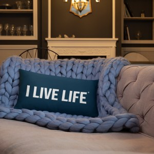 I Live Live Deep Navy Blue Throw Pillow