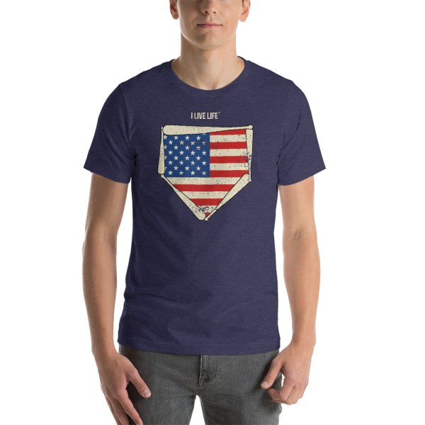 American Home Plate Baseball T shirt by I Live Life, the brand for champions who live life to the fullest