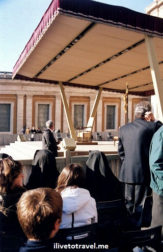 Seat from VIP section at Papal audience at The Vatican