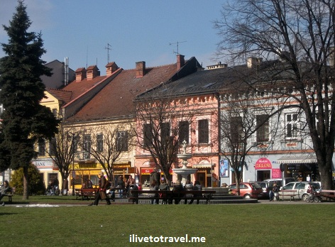 Around the main square in Wadowice, Poland