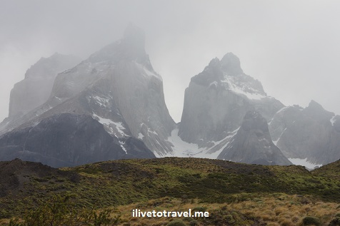 Foggy view of the Torres del Paine in Chile's Patagonia