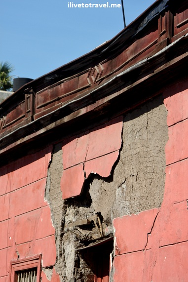 Earthquake damage in Santiago, Chile from February 2010