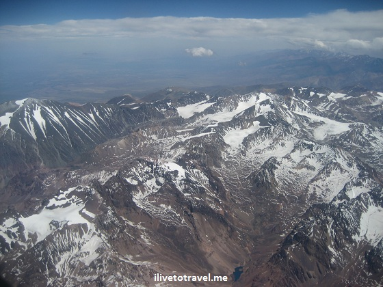 The Andes viewed from the plane on a trip from Mendoza, Argentina to Santiago, Chile