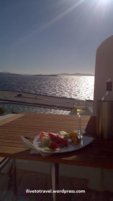 In the Greeks Islands:  A sunset in Mykonos