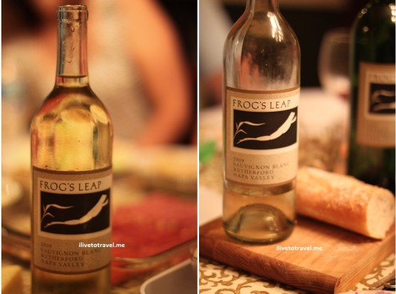 Before and after at a wine tasting of Frog's Leap wines
