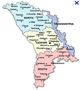 Map showing my tour of Moldova (based in Chisinau)