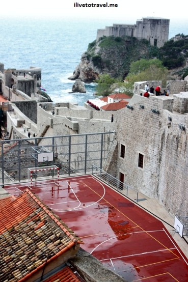 Rooftop in Dubrovnik, Croatia doing double duty as a sports court