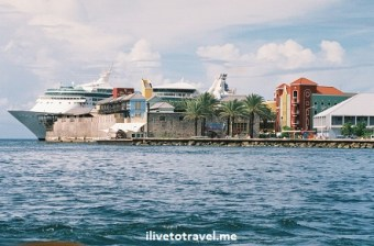 Cruise ship entering Willemstad, Curacao