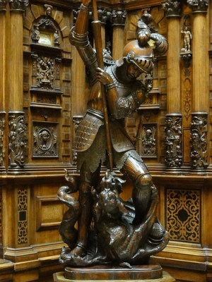 Indoors at Peles Castle in Romania - St. George and the dragon