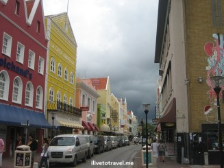 Dark skies in Punda, in Willemstad, Curacao