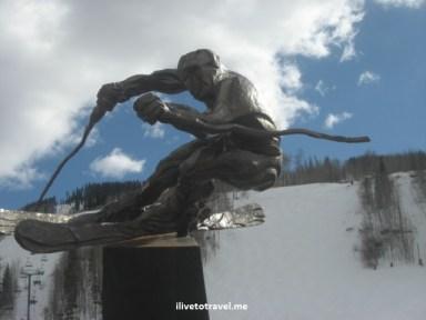 Statue of skier in Vail, Colorado