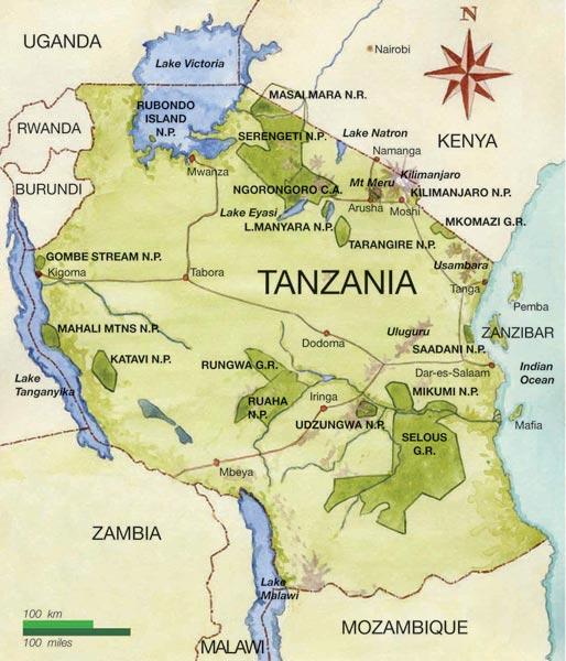 Tanzania Map Serengeti Lake Manyara
