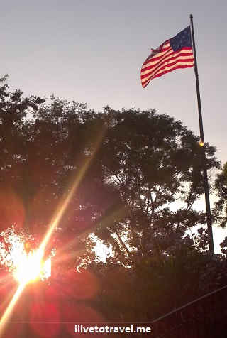 US flag at sunset in Washington, D.C.