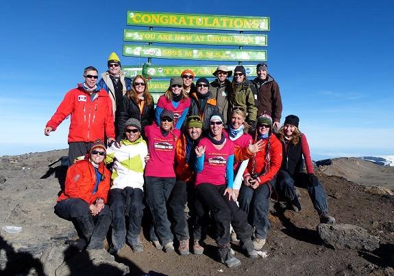 Trekkers at Kilimanjaro's Uhuru Peak