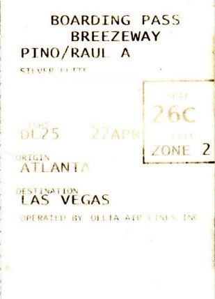 Las Vegas Boarding Pass Delta travel flight fun nevada