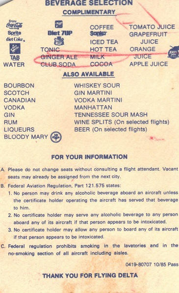 Vintage, Detla, boarding pass, 1985, cocktails, airline, history, travel