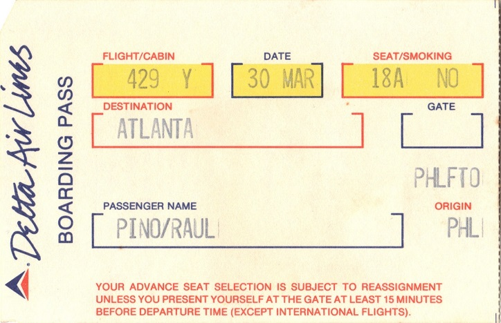Delta boarding pass 1986 airline history vintage