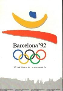 Barcelona, Olympics, post card, logo, Olympic rings, 1992, souvenir, travel, sports